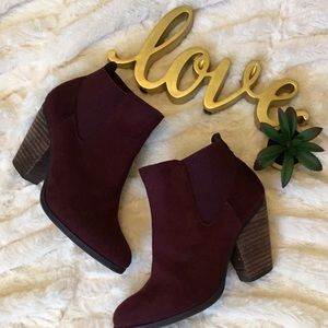 Faux suede merlot ankle booties